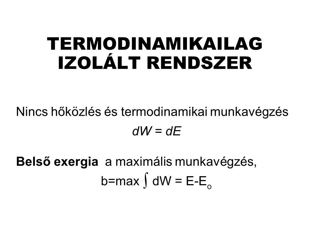 TERMODINAMIKAILAG IZOLÁLT RENDSZER Nincs hőközlés és termodinamikai munkavégzés dW = dE Belső exergia a maximális munkavégzés, b=max ∫ dW = E-E o