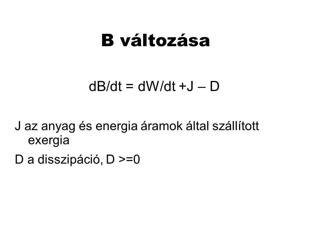 B változása dB/dt = dW/dt +J – D J az anyag és energia áramok által szállított exergia D a disszipáció, D >=0