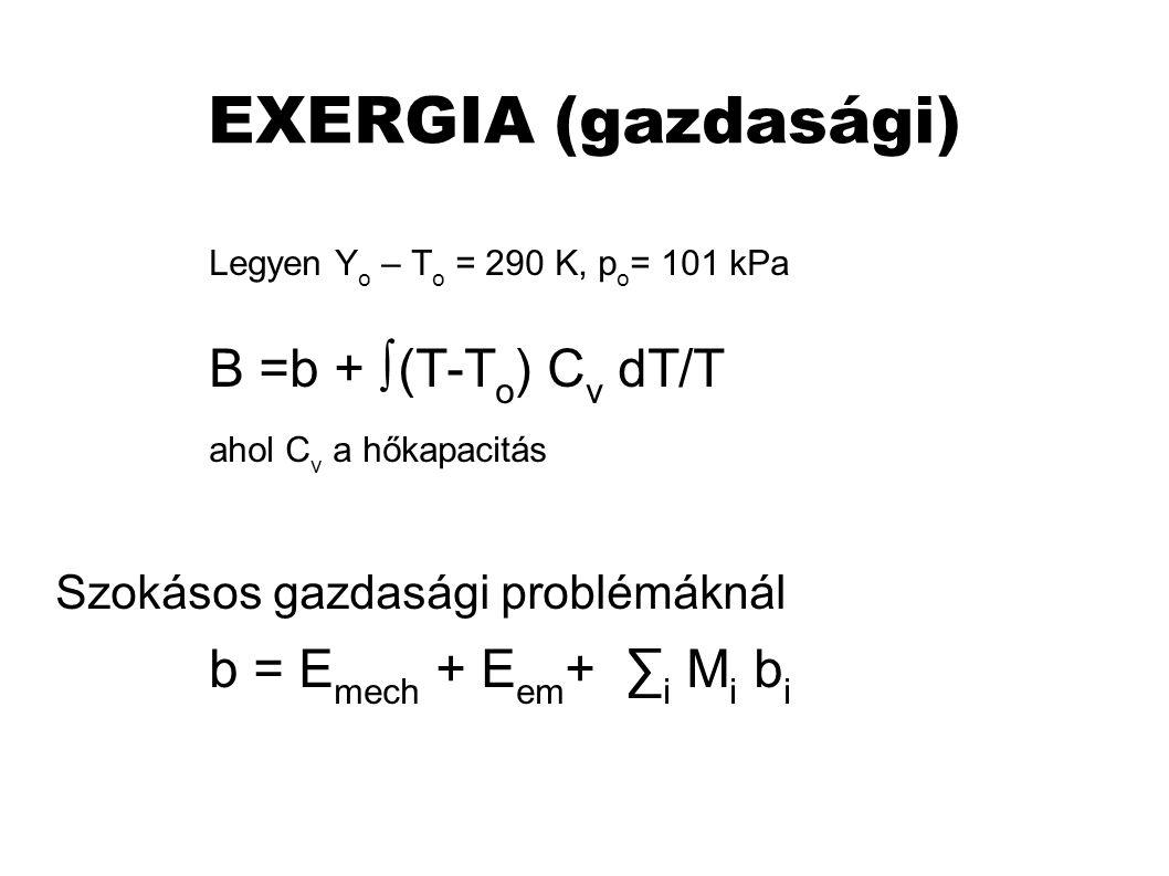 EXERGIA (gazdasági) Legyen Y o – T o = 290 K, p o = 101 kPa B =b + ∫(T-T o ) C v dT/T ahol C v a hőkapacitás Szokásos gazdasági problémáknál b = E mech + E em + ∑ i M i b i