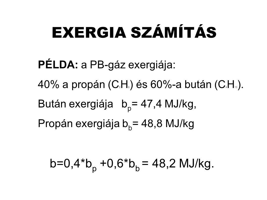 EXERGIA SZÁMÍTÁS PÉLDA: a PB-gáz exergiája: 40% a propán (C 3 H 8 ) és 60%-a bután (C 4 H 10 ).