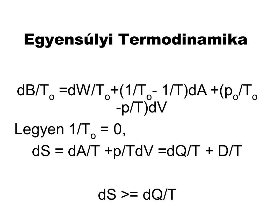 "Egyensúlyi Termodinamika dB/T o =dW/T o +(1/T o - 1/T)dA +(p o /T o -p/T)dV Legyen 1/T o = 0, dS = dA/T +p/TdV =dQ/T + D/T dS >= dQ/T S az ""egyensúlyiságot méri , S =S(A,V,..)"
