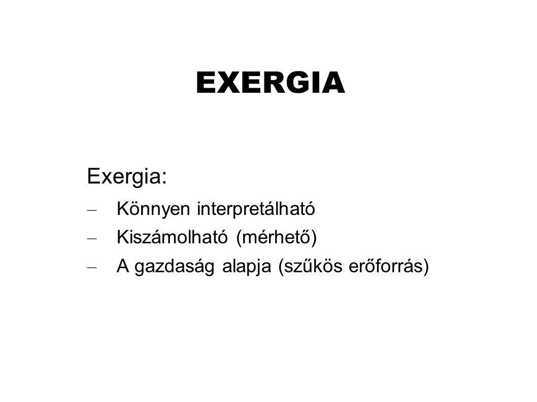 EXERGIA Exergia: – Könnyen interpretálható – Kiszámolható (mérhető) – A gazdaság alapja (szűkös erőforrás)