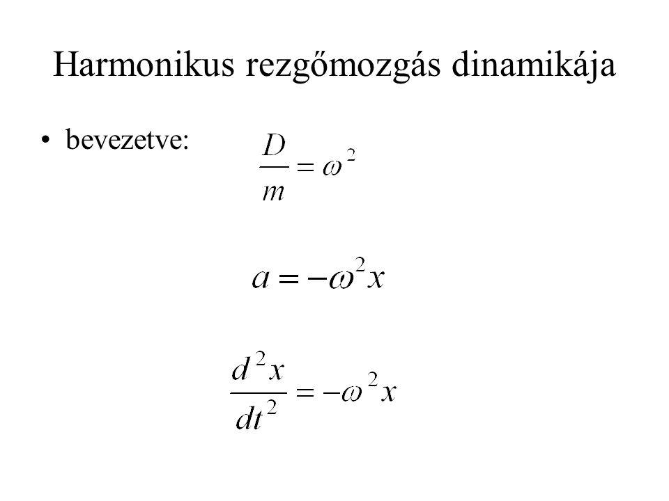 Harmonikus rezgőmozgás dinamikája •bevezetve: