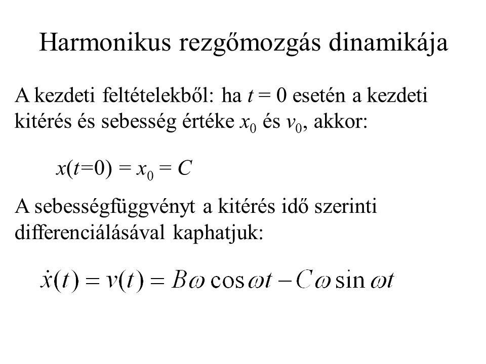A kezdeti feltételekből: ha t = 0 esetén a kezdeti kitérés és sebesség értéke x 0 és v 0, akkor: x(t=0) = x 0 = C A sebességfüggvényt a kitérés idő szerinti differenciálásával kaphatjuk: Harmonikus rezgőmozgás dinamikája