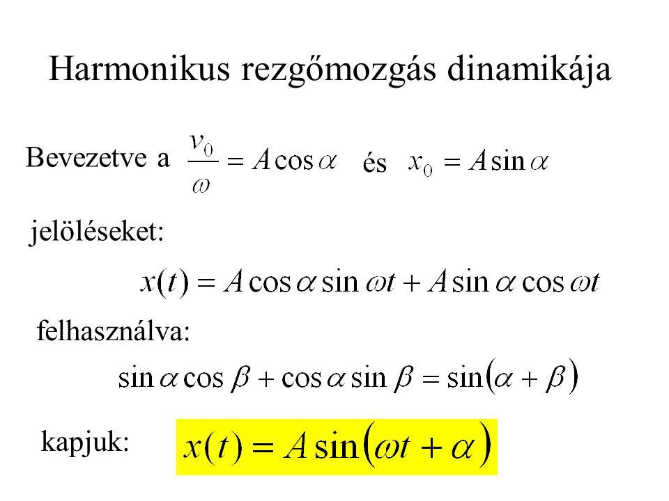 és Bevezetve a jelöléseket: felhasználva: Harmonikus rezgőmozgás dinamikája kapjuk: