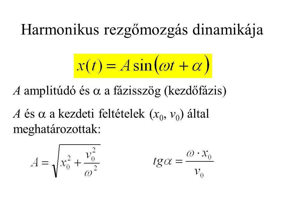 A amplitúdó és  a fázisszög (kezdőfázis) A és  a kezdeti feltételek (x 0, v 0 ) által meghatározottak: Harmonikus rezgőmozgás dinamikája