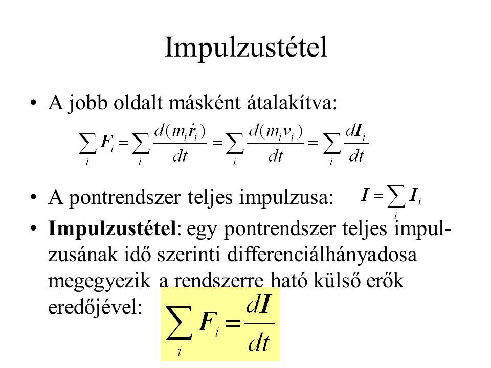 Impulzustétel •A jobb oldalt másként átalakítva: •A pontrendszer teljes impulzusa: •Impulzustétel: egy pontrendszer teljes impul- zusának idő szerinti differenciálhányadosa megegyezik a rendszerre ható külső erők eredőjével: