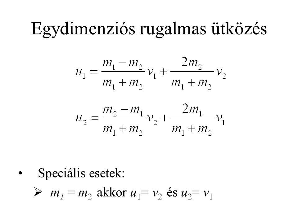 Egydimenziós rugalmas ütközés •Speciális esetek:  m 1 = m 2 akkor u 1 = v 2 és u 2 = v 1