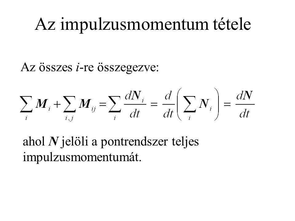 Az impulzusmomentum tétele Az összes i-re összegezve: ahol N jelöli a pontrendszer teljes impulzusmomentumát.