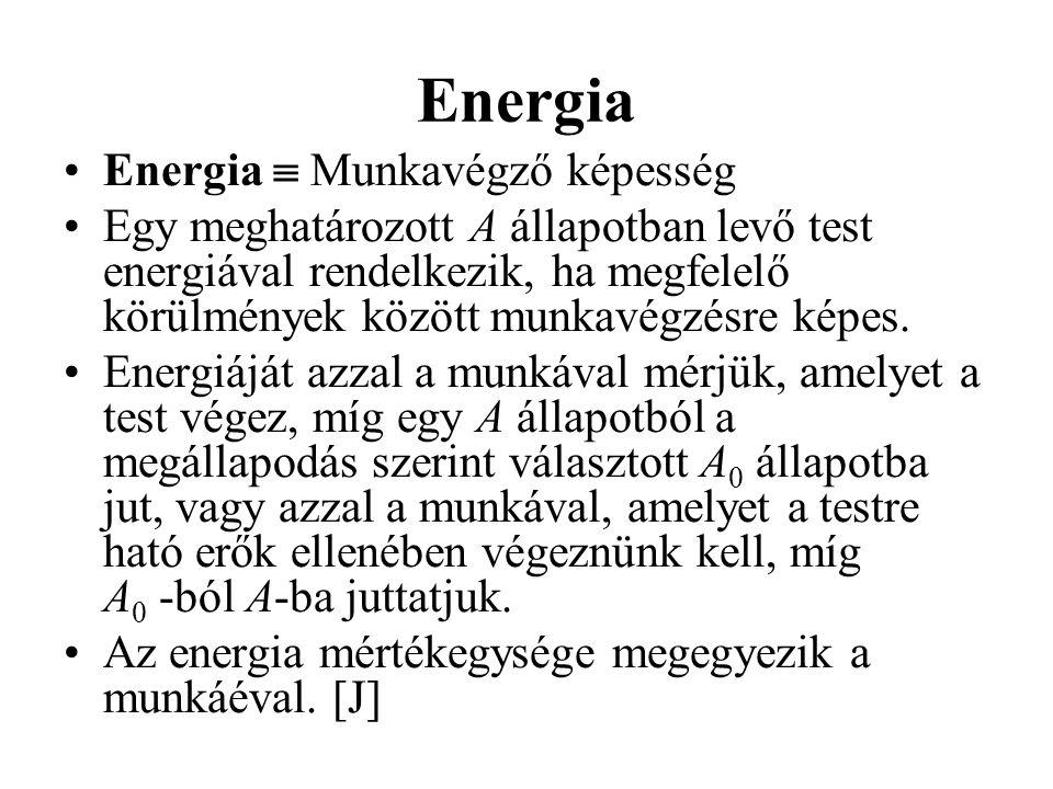 Energia •Energia  Munkavégző képesség •Egy meghatározott A állapotban levő test energiával rendelkezik, ha megfelelő körülmények között munkavégzésre képes.