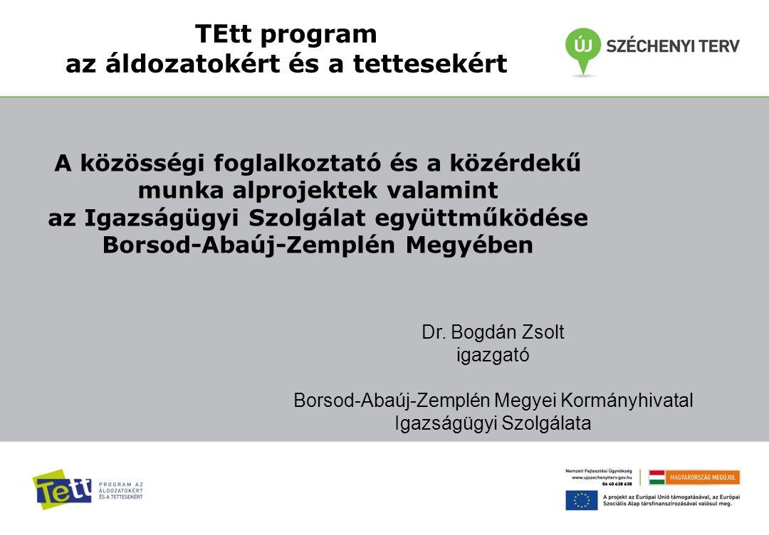 TEtt program az áldozatokért és a tettesekért Dr. Bogdán Zsolt igazgató Borsod-Abaúj-Zemplén Megyei Kormányhivatal Igazságügyi Szolgálata A közösségi