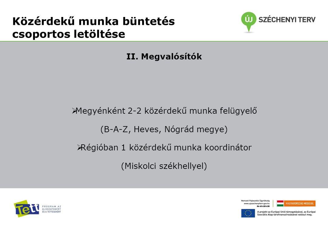 II. Megvalósítók  Megyénként 2-2 közérdekű munka felügyelő (B-A-Z, Heves, Nógrád megye)  Régióban 1 közérdekű munka koordinátor (Miskolci székhellye