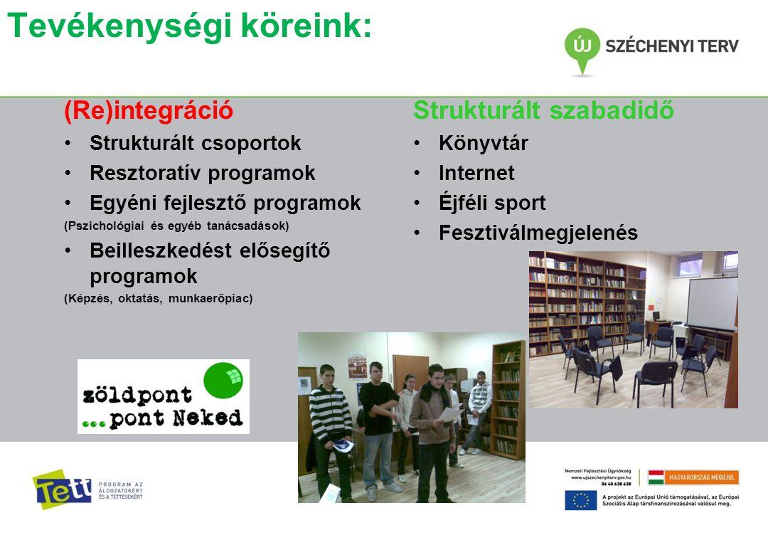 Tevékenységi köreink: (Re)integráció •Strukturált csoportok •Resztoratív programok •Egyéni fejlesztő programok (Pszichológiai és egyéb tanácsadások) •
