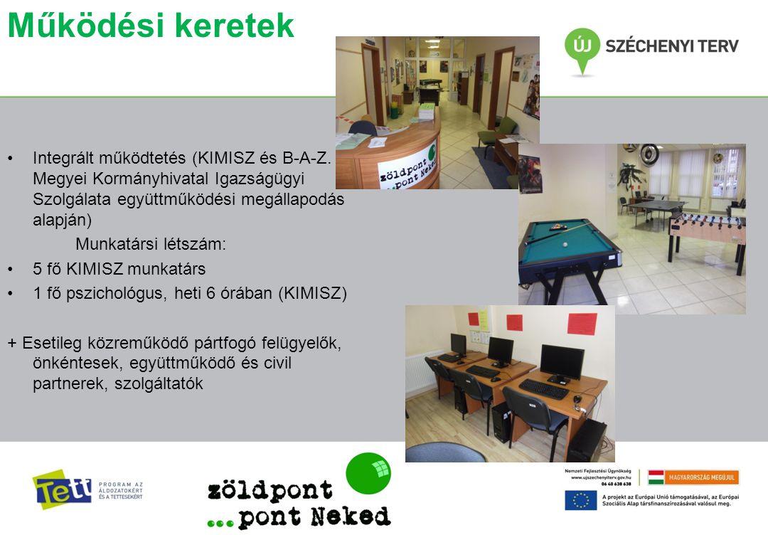Működési keretek •Integrált működtetés (KIMISZ és B-A-Z. Megyei Kormányhivatal Igazságügyi Szolgálata együttműködési megállapodás alapján) Munkatársi