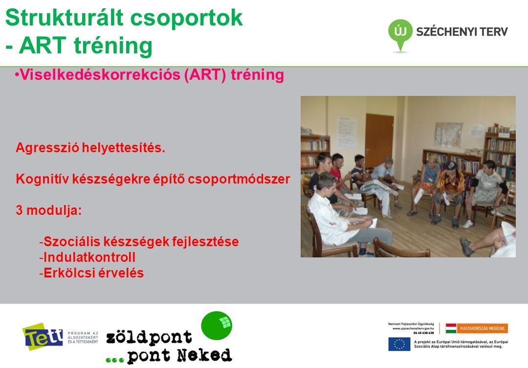 Strukturált csoportok - ART tréning •Viselkedéskorrekciós (ART) tréning Agresszió helyettesítés. Kognitív készségekre építő csoportmódszer 3 modulja: