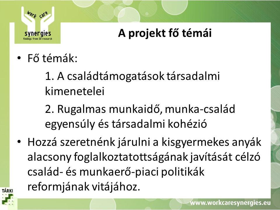 A projekt fő témái • Fő témák: 1. A családtámogatások társadalmi kimenetelei 2. Rugalmas munkaidő, munka-család egyensúly és társadalmi kohézió • Hozz