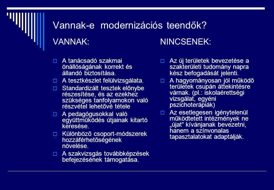 Vannak-e modernizációs teendők? VANNAK:  A tanácsadó szakmai önállóságának korrekt és állandó biztosítása.  A tesztkészlet felülvizsgálata.  Standa