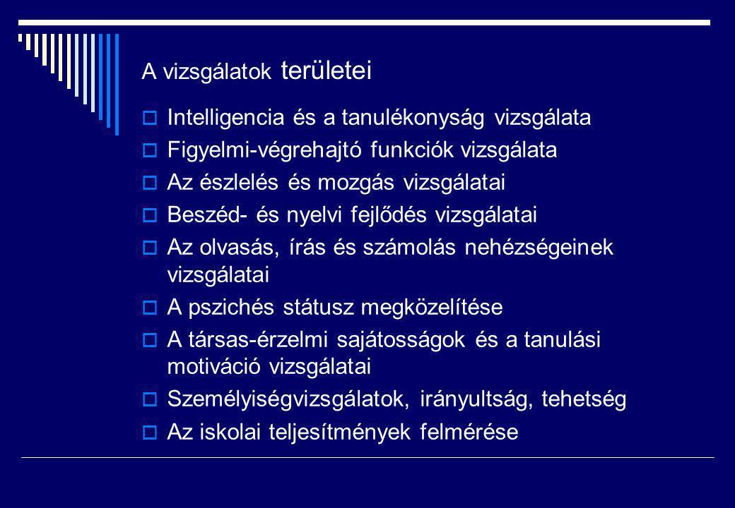 A vizsgálatok területei  Intelligencia és a tanulékonyság vizsgálata  Figyelmi-végrehajtó funkciók vizsgálata  Az észlelés és mozgás vizsgálatai 
