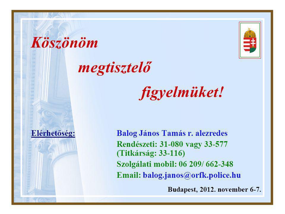 Budapest, 2012. november 6-7. Köszönöm megtisztelő figyelmüket.