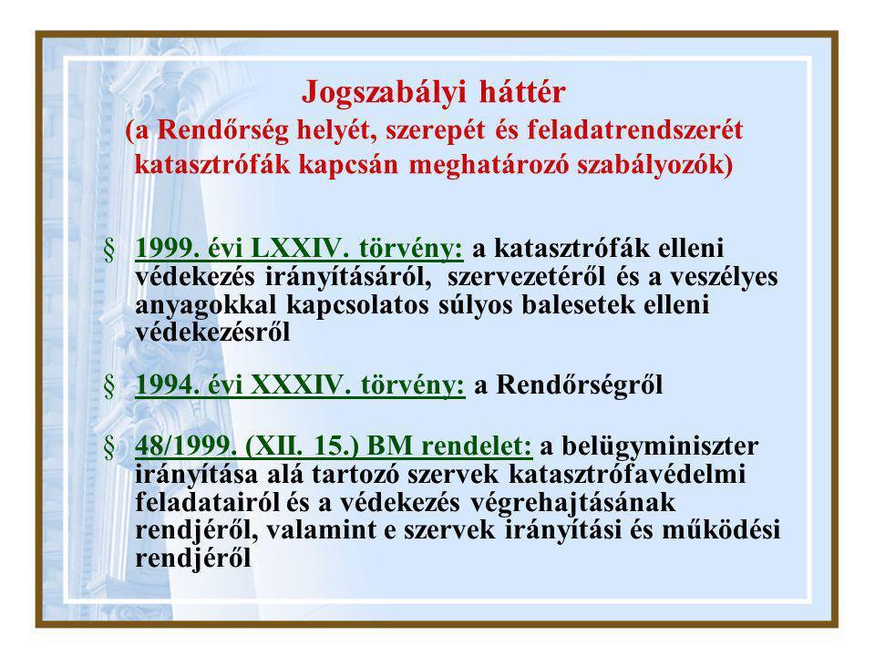 Jogszabályi háttér (a Rendőrség helyét, szerepét és feladatrendszerét katasztrófák kapcsán meghatározó szabályozók) §1999.