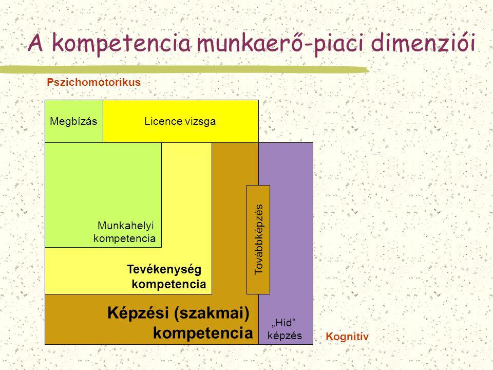 """A kompetencia munkaerő-piaci dimenziói Képzési (szakmai) kompetencia Tevékenység kompetencia Munkahelyi kompetencia """"Híd"""" képzés Megbízás Továbbképzés"""