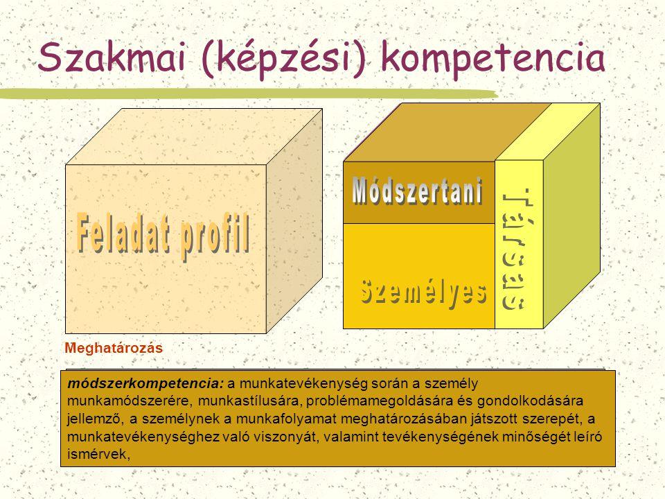 szakmai kompetencia: a szakképesítésnek megfelelő munkafeladatok elvégzésére való képesség, alkalmasság, Szakmai (képzési) kompetencia Meghatározás sz