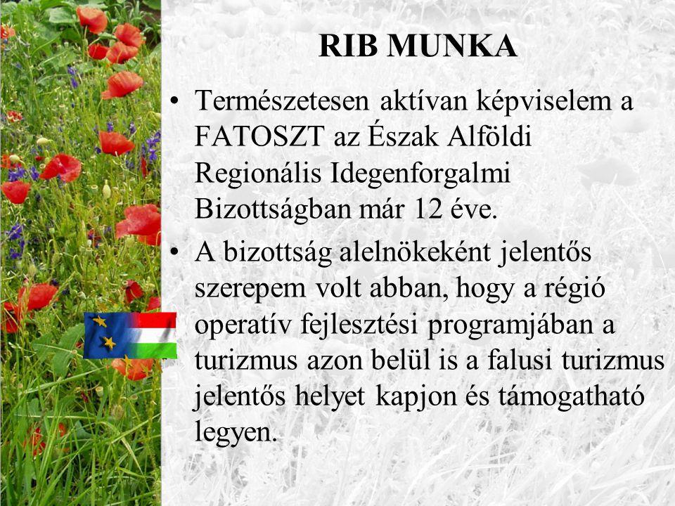 RIB MUNKA •Természetesen aktívan képviselem a FATOSZT az Észak Alföldi Regionális Idegenforgalmi Bizottságban már 12 éve. •A bizottság alelnökeként je