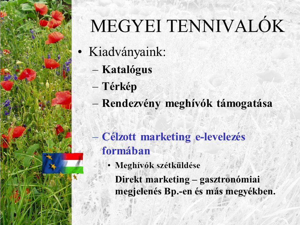 MEGYEI TENNIVALÓK •Kiadványaink: –Katalógus –Térkép –Rendezvény meghívók támogatása –Célzott marketing e-levelezés formában •Meghívók szétküldése Dire