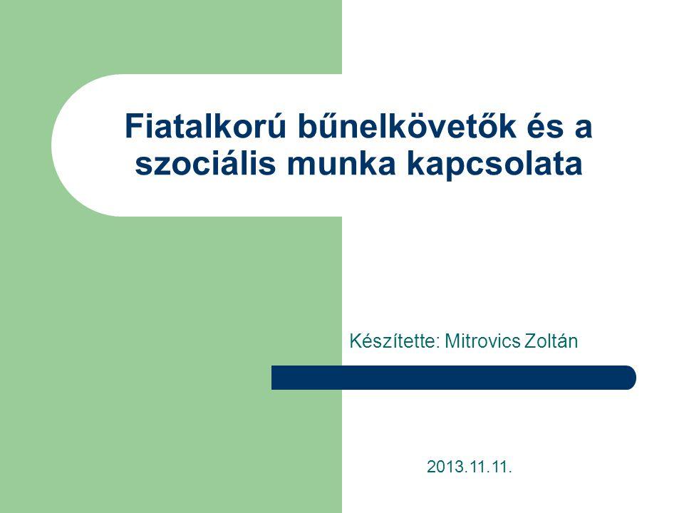 Fiatalkorú bűnelkövetők és a szociális munka kapcsolata Készítette: Mitrovics Zoltán 2013.11.11.