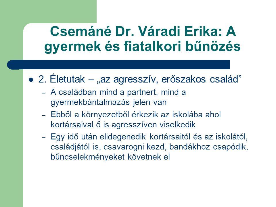 """Csemáné Dr. Váradi Erika: A gyermek és fiatalkori bűnözés  2. Életutak – """"az agresszív, erőszakos család"""" – A családban mind a partnert, mind a gyerm"""