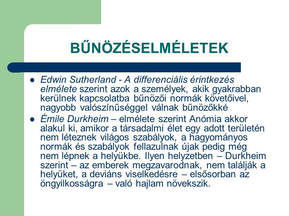 BŰNÖZÉSELMÉLETEK  Edwin Sutherland - A differenciális érintkezés elmélete szerint azok a személyek, akik gyakrabban kerülnek kapcsolatba bűnözői norm