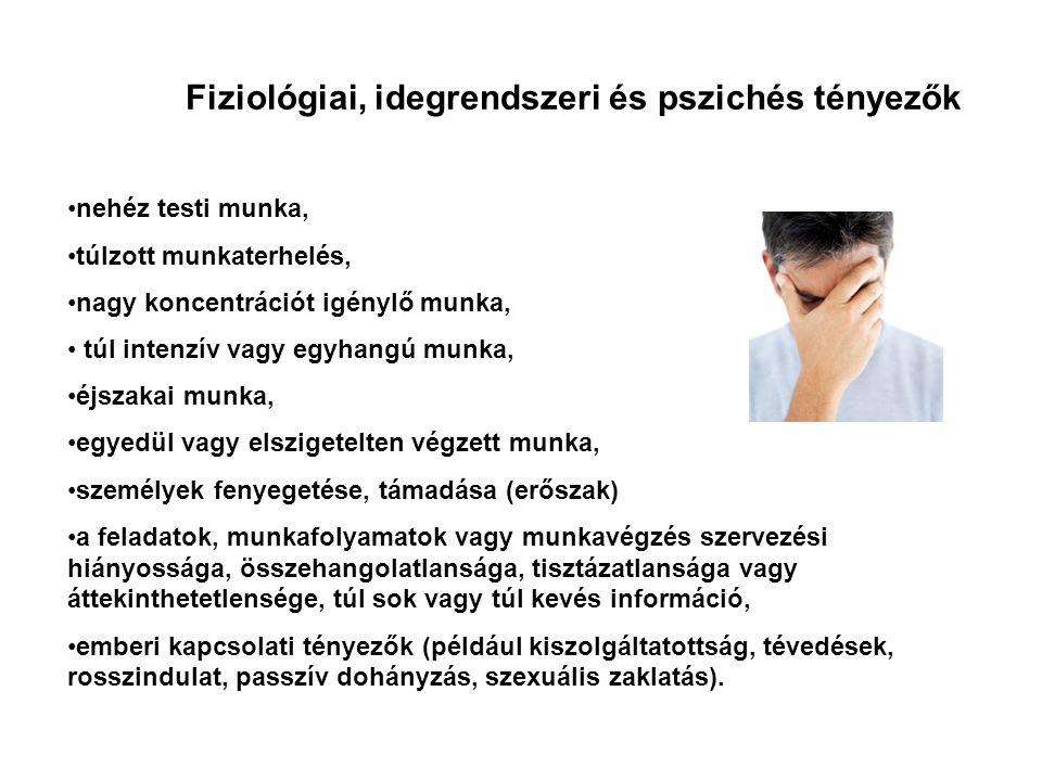 Fiziológiai, idegrendszeri és pszichés tényezők •nehéz testi munka, •túlzott munkaterhelés, •nagy koncentrációt igénylő munka, • túl intenzív vagy egy