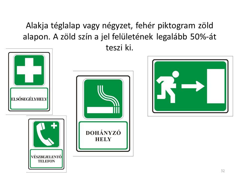 32 Tájékoztató, elsősegély, vagy menekülési jelek Alakja téglalap vagy négyzet, fehér piktogram zöld alapon.