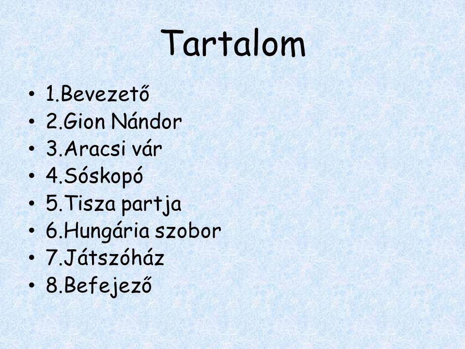 Tartalom • 1.Bevezető • 2.Gion Nándor • 3.Aracsi vár • 4.Sóskopó • 5.Tisza partja • 6.Hungária szobor • 7.Játszóház • 8.Befejező
