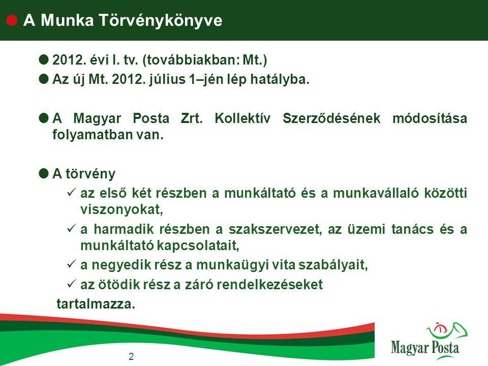  A Munka Törvénykönyve 2  2012. évi I. tv. (továbbiakban: Mt.)  Az új Mt. 2012. július 1–jén lép hatályba.  A Magyar Posta Zrt. Kollektív Szerződé