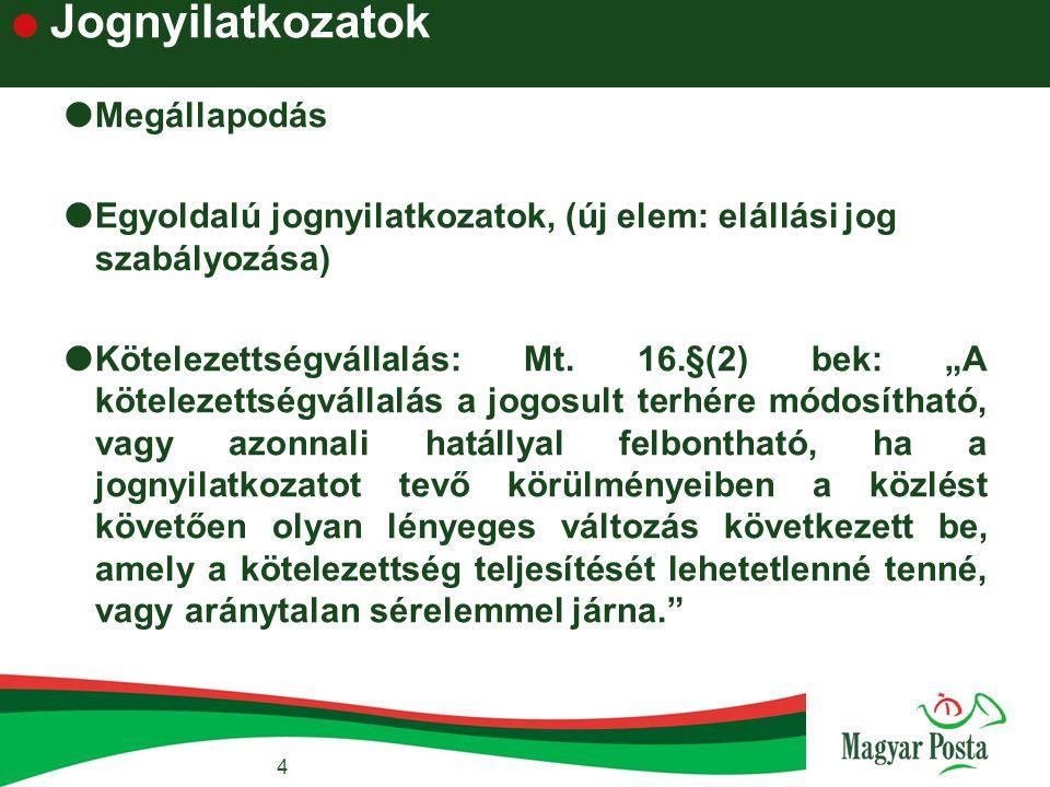 """ Jognyilatkozatok  Megállapodás  Egyoldalú jognyilatkozatok, (új elem: elállási jog szabályozása)  Kötelezettségvállalás: Mt. 16.§(2) bek: """"A köte"""