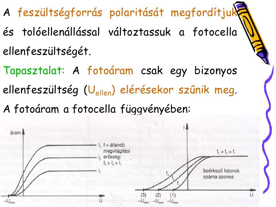 A feszültségforrás polaritását megfordítjuk és tolóellenállással változtassuk a fotocella ellenfeszültségét. Tapasztalat: A fotoáram csak egy bizonyos