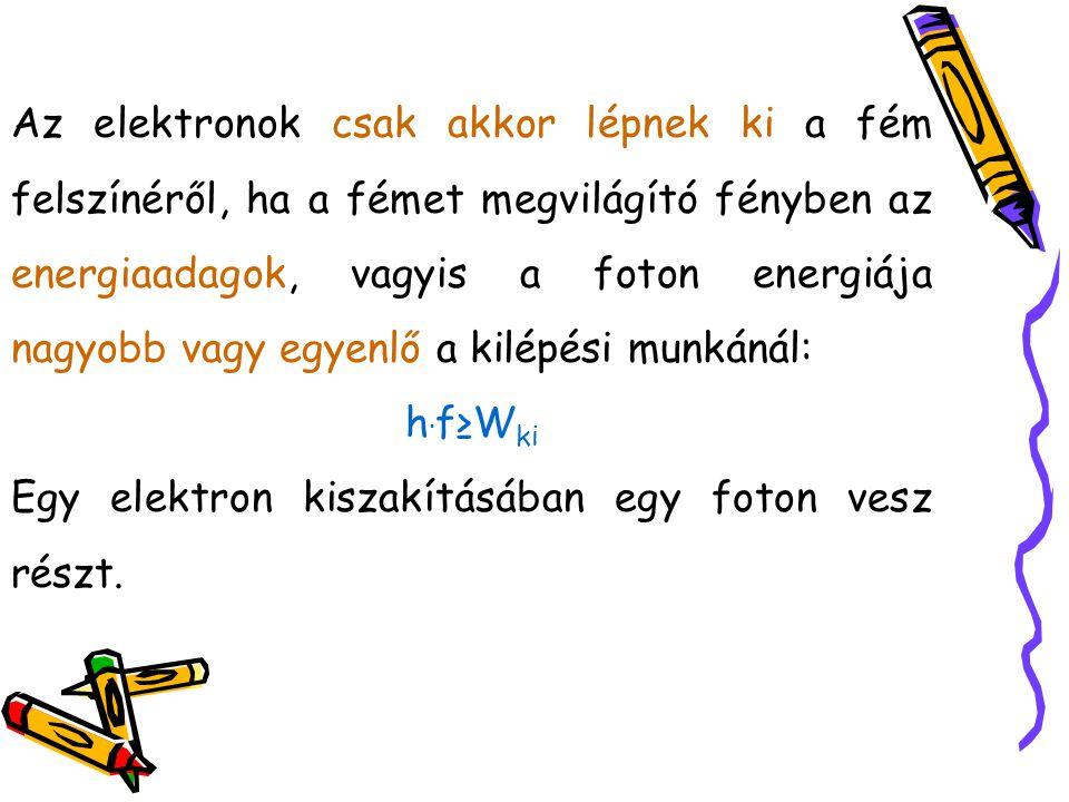 Einstein formula: A foton energiája fedezi az elektron kilépési munkáját, a többletenergia a kilépő elektron mozgási energiáját szolgáltatja.