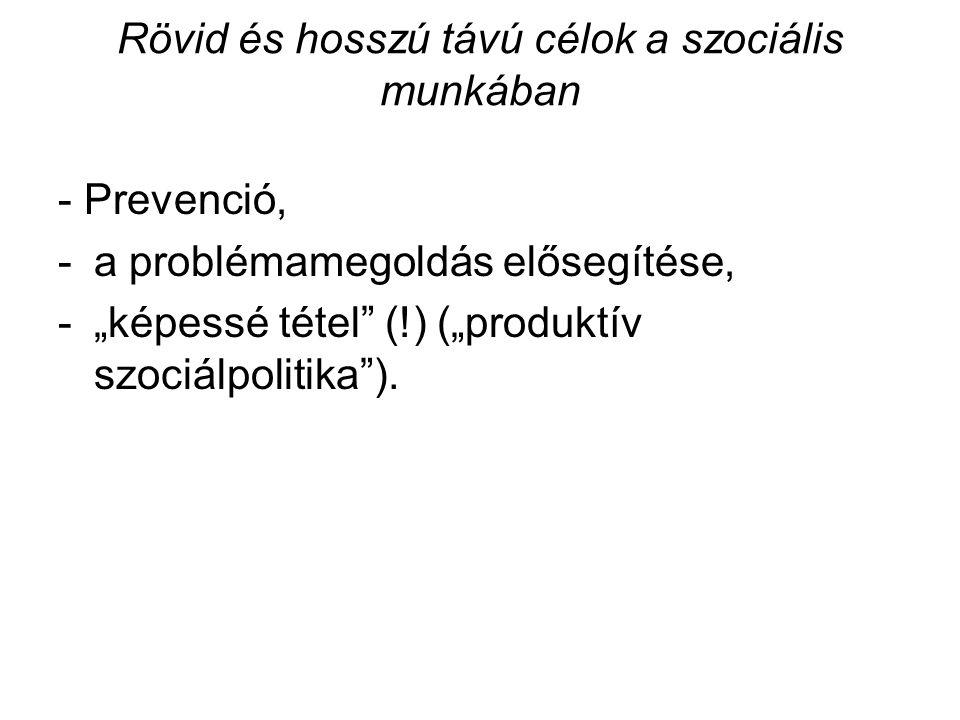 """Rövid és hosszú távú célok a szociális munkában - Prevenció, -a problémamegoldás elősegítése, -""""képessé tétel (!) (""""produktív szociálpolitika )."""