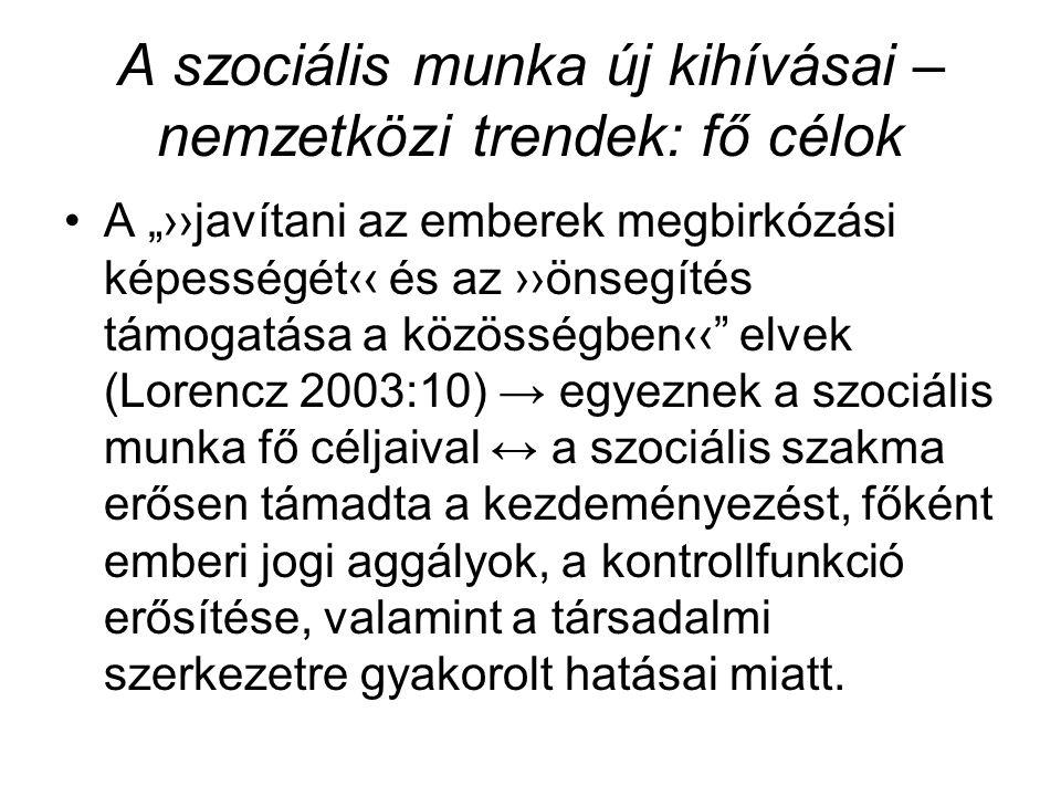 """A szociális munka új kihívásai – nemzetközi trendek: fő célok •A """"››javítani az emberek megbirkózási képességét‹‹ és az ››önsegítés támogatása a közösségben‹‹ elvek (Lorencz 2003:10) → egyeznek a szociális munka fő céljaival ↔ a szociális szakma erősen támadta a kezdeményezést, főként emberi jogi aggályok, a kontrollfunkció erősítése, valamint a társadalmi szerkezetre gyakorolt hatásai miatt."""