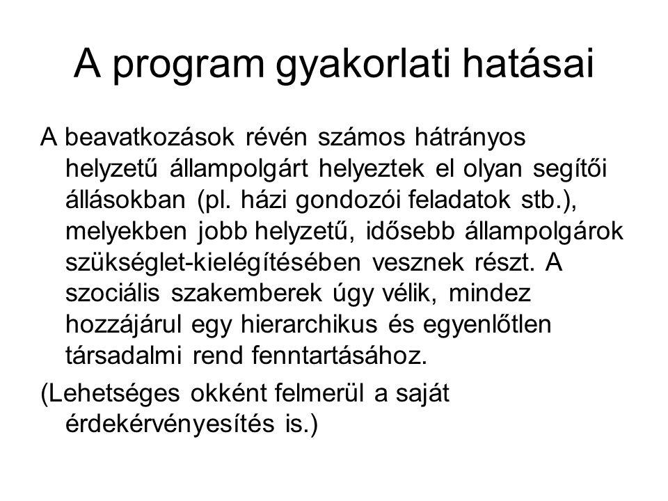 A program gyakorlati hatásai A beavatkozások révén számos hátrányos helyzetű állampolgárt helyeztek el olyan segítői állásokban (pl.
