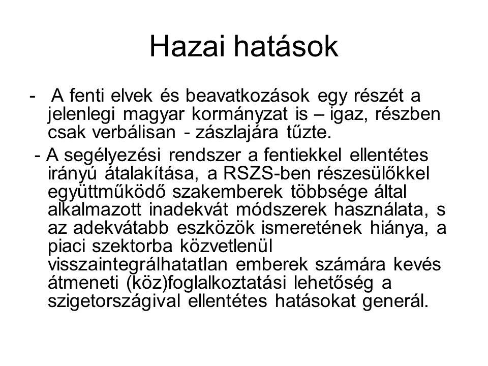 Hazai hatások - A fenti elvek és beavatkozások egy részét a jelenlegi magyar kormányzat is – igaz, részben csak verbálisan - zászlajára tűzte.