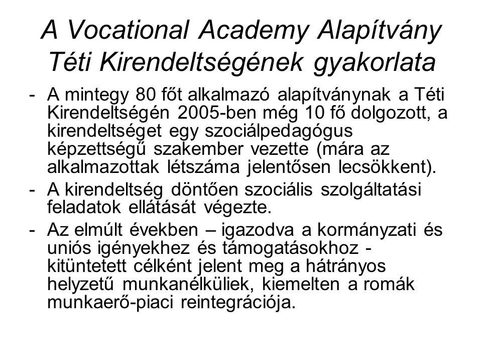 A Vocational Academy Alapítvány Téti Kirendeltségének gyakorlata -A mintegy 80 főt alkalmazó alapítványnak a Téti Kirendeltségén 2005-ben még 10 fő dolgozott, a kirendeltséget egy szociálpedagógus képzettségű szakember vezette (mára az alkalmazottak létszáma jelentősen lecsökkent).