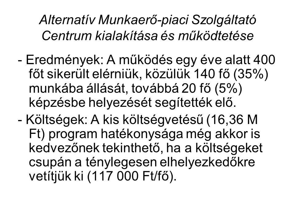 Alternatív Munkaerő-piaci Szolgáltató Centrum kialakítása és működtetése - Eredmények: A működés egy éve alatt 400 főt sikerült elérniük, közülük 140 fő (35%) munkába állását, továbbá 20 fő (5%) képzésbe helyezését segítették elő.
