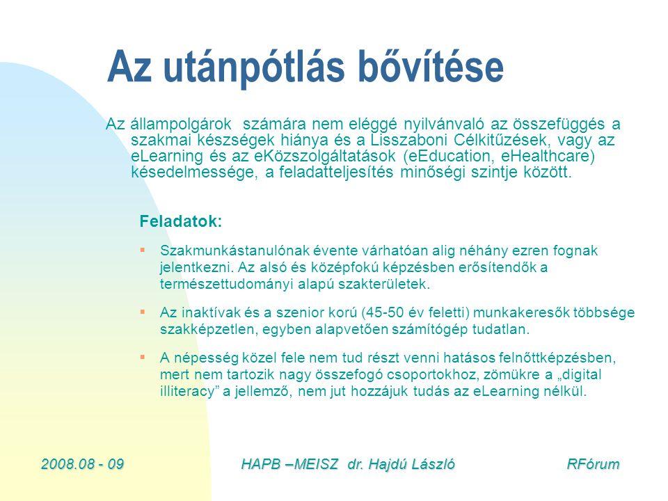 2008.08 - 09HAPB –MEISZ dr. Hajdú László RFórum Az utánpótlás bővítése Az állampolgárok számára nem eléggé nyilvánvaló az összefüggés a szakmai készsé