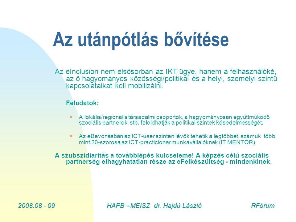 2008.08 - 09HAPB –MEISZ dr. Hajdú László RFórum Az utánpótlás bővítése Az eInclusion nem elsősorban az IKT ügye, hanem a felhasználóké, az ő hagyomány