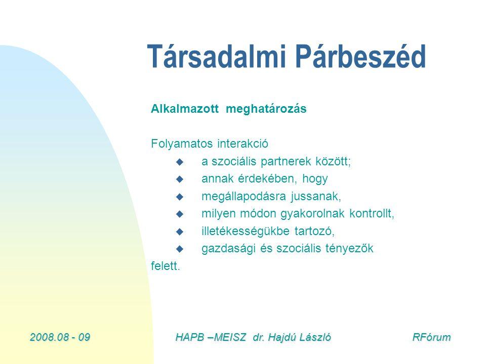 2008.08 - 09HAPB –MEISZ dr. Hajdú László RFórum Társadalmi Párbeszéd Alkalmazott meghatározás Folyamatos interakció u u a szociális partnerek között;
