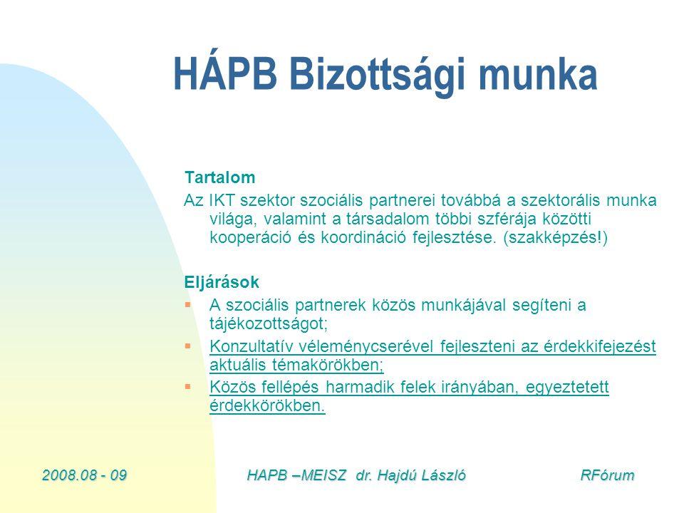 2008.08 - 09HAPB –MEISZ dr. Hajdú László RFórum HÁPB Bizottsági munka Tartalom Az IKT szektor szociális partnerei továbbá a szektorális munka világa,