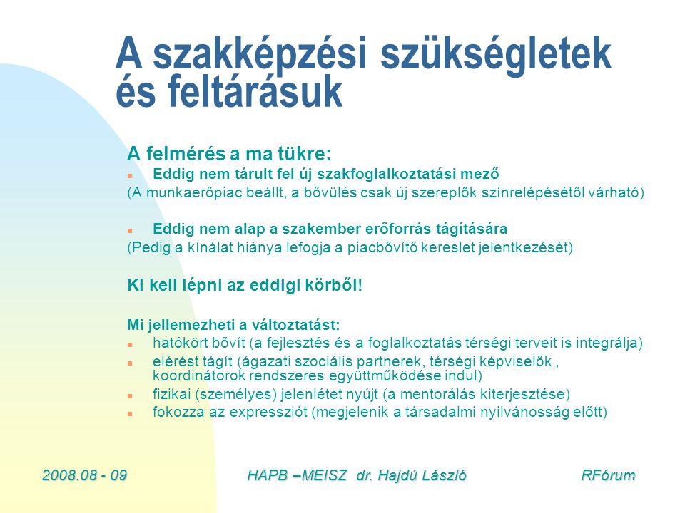 2008.08 - 09HAPB –MEISZ dr. Hajdú László RFórum A szakképzési szükségletek és feltárásuk A felmérés a ma tükre: n Eddig nem tárult fel új szakfoglalko