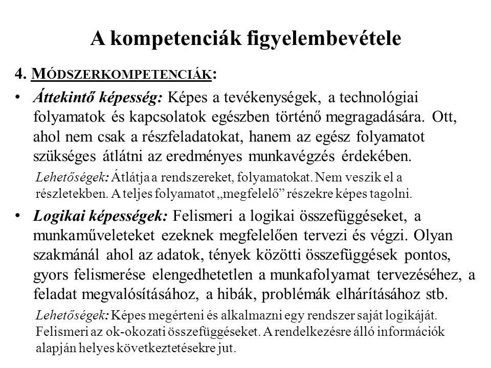 A kompetenciák figyelembevétele 4. M ÓDSZERKOMPETENCIÁK : • Áttekintő képesség: Képes a tevékenységek, a technológiai folyamatok és kapcsolatok egészb